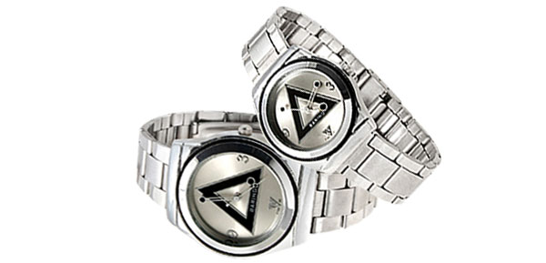 Fashion Jewelry Black Triangle Pair Wrist Couple Watch