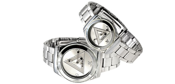 Fashion White Triangle Pair Wrist Couple Watch