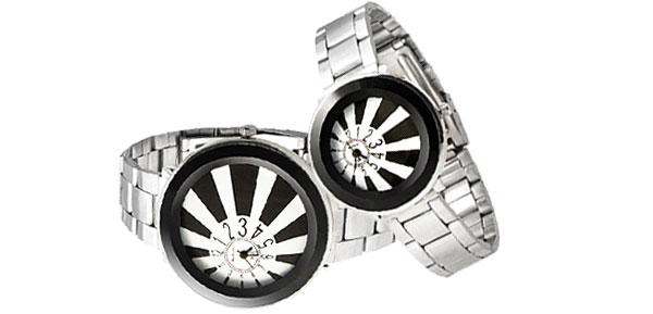 Fashion Jewelry Unique Black His and Her Steel Band Couple Watch