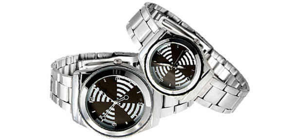 Fashion Black His and Her Steel Band Couple Watch