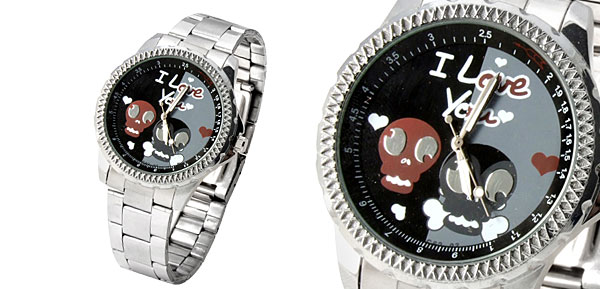 Cute Skull Mens I Love You Quartz Wrist Watch