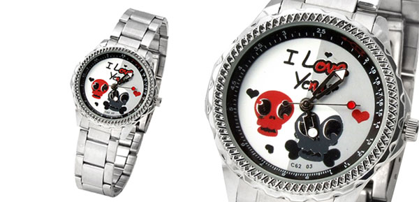 Fashion Cute Skull Quartz Ladies Wrist Watch