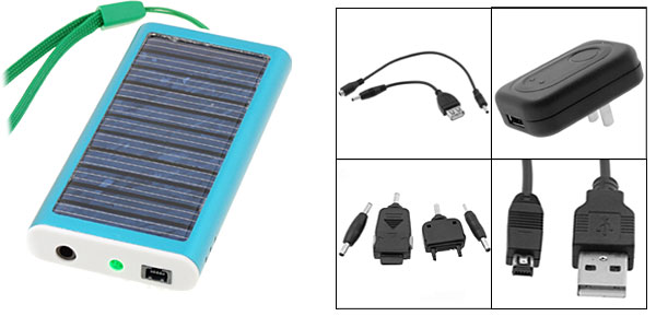Emergency Solar Charger for Cell Phone PDA MP3 MP4 Blue