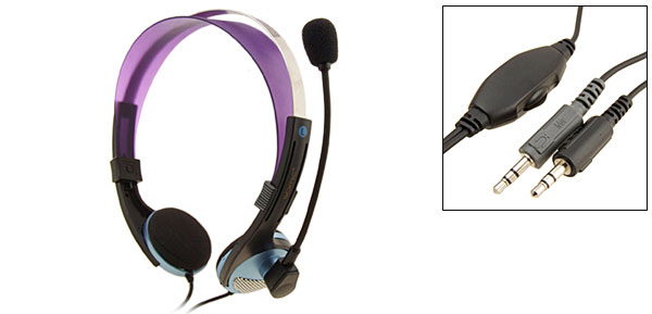 3.5mm Stereo PC Computer Headset Headphone Microphone Sky Blue