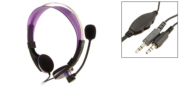 Purple 3.5mm Stereo PC Computer Headphone Headset Microphone