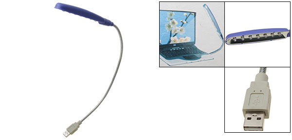 USB 7 LED Notebook Laptop Reading Lamp Light Blue
