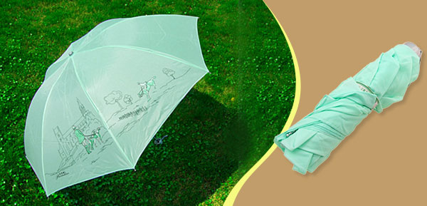 Ladies Cartoon Green Canopy Folding Rain Sun Umbrella