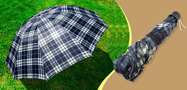 Men's Grid Canopy Folding Rain Sun Umbrella