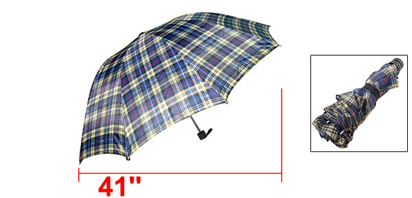 Men's Checked Canopy Folding Rain Sun Umbrella