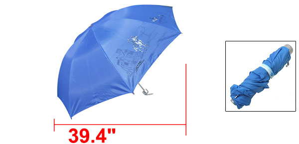 New Blue Folding Canopy Rain Sun Umbrella