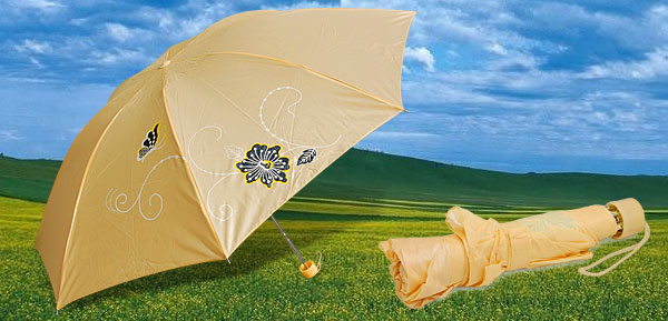 Ladies Orange Folding Canopy Rain Sun Umbrella