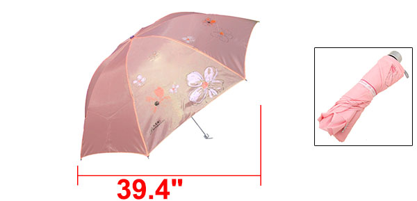 Ladies Pink Canopy Folding Rain Sun Umbrella