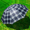 Men's Grid Canopy Folding Rain Sun Umbrella