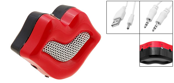 Mini Red Mouth Portable Stereo Speaker for iPod MP3 MP4