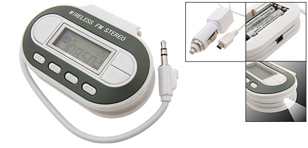 White Wireless Digital Display FM Transmitter Modulator for iPod MP3 PDA