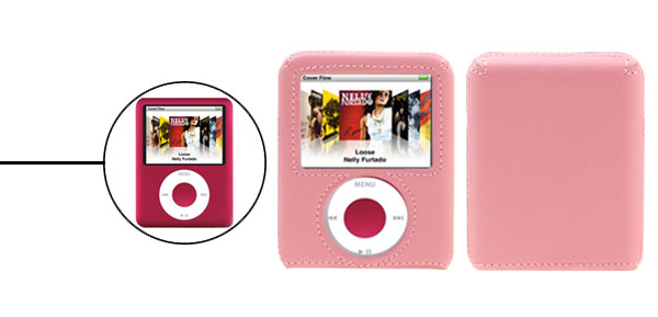 Pink Leather Covered Plastic Hard Case for iPod Nano 3G 3rd Generation