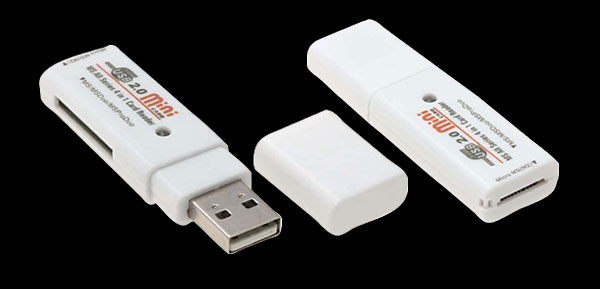 White Solid USB 2.0 High Speed MS Card Reader Writer