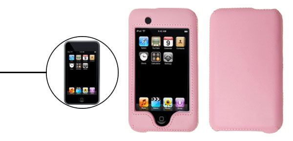 Pink Leather Plastic Hard Cover Case for Apple iPod Touch 1st Generation