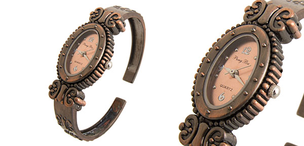 Fashion Slim Butterfly Copper Womens Bangle Watch