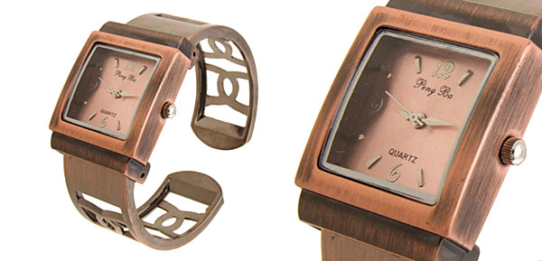 Fashion Jewelry Womens Cutout Copper Bracelet Bangle Watch