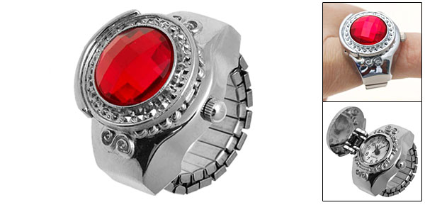 Fashion Jewelry Simulated Ruby Diamond Finger Ring Watch