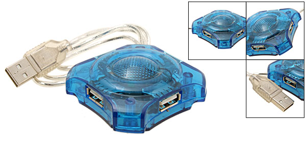 Blue Mini High Speed 4 Port USB 2.0 Hub