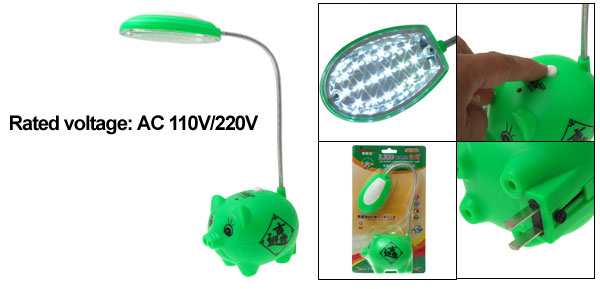 18 LED Pig Super Capacity Desk Light Reading Lamp Peachblow