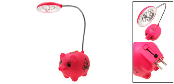 12 LED Pig Super Capacity Reading Lamp Desk Light Peachblow