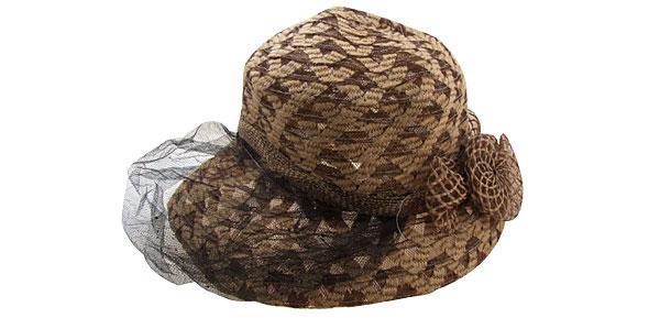 New Linen Ladies Wide Brim Cap Khaki Vintage Hat with Black Veil