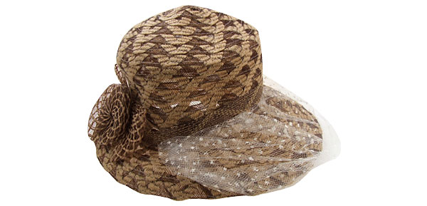 Ladies Vintage Khaki Cap Wide Brim Hat with White Veil