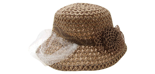 Khaki Ladies Vintage Cap Wide Brim Hat with White Veil