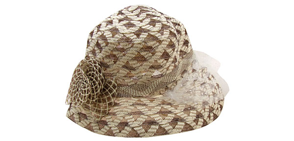 Buff and Brown Vintage Linen Wide Brim Cap Ladies Hat with White Veil