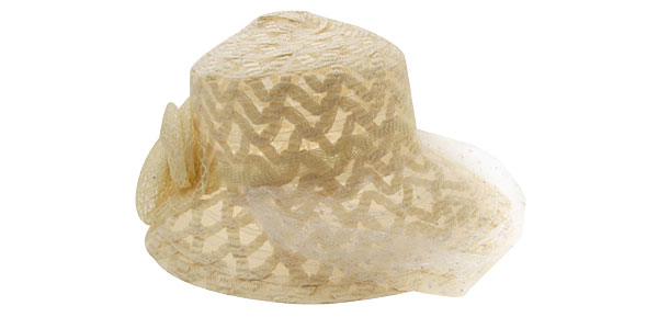 Vintage Buff Ladies Hat Wide Brim Cap with White Veil