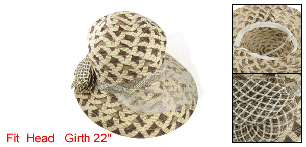 Buff Ladies Wide Brim Hat Vintage Cap with White Veil