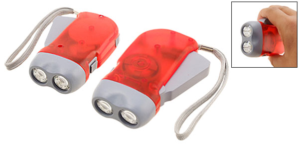 Red Battery Free Hand Wind Crank Press 2 LED Torch Flashlight