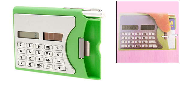 Green Business Card Holder + Solar Power Calculator + Ball Point Pen