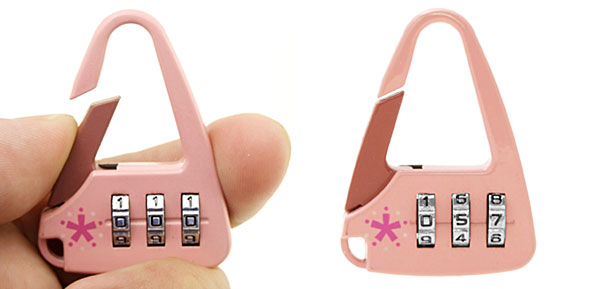 Pink Handbag 3 Digit Combination Lock Security Padlock