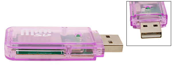 Transparent Purple Clip USB Mini SD Card Reader Writer