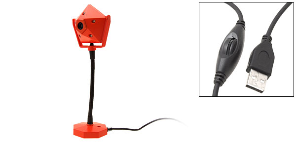 5 LED Orange Searchlight Shaped 320 x 240 Pixel USB PC Camera Webcam