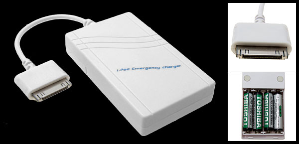 White Emergency Travel Charger for iPod Nano Mini