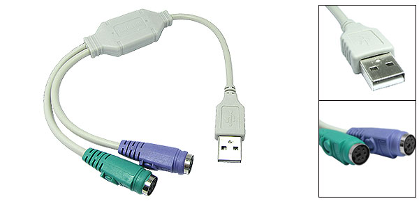USB To PS/2 Adapter with two PS/2 Connectors