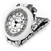 Rhinestone White Round 3 Hands Steel Quartz Lady Watch