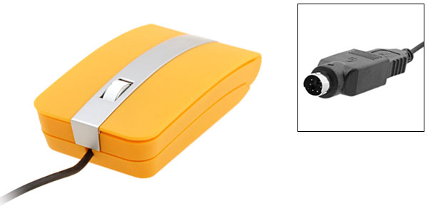 Orange Wired Notebook Laptop Computer USB PS/2 3D Optical Mouse