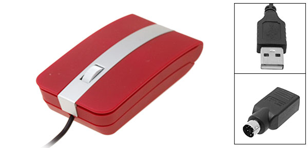 Wired Notebook Laptop Computer Red USB PS/2 3D Optical Mouse