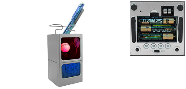 Charming 7 Color Moon Desk Alarm Clock Thermometer Pen Holder