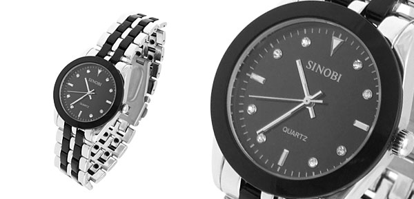 Black Round 3 Hands Man Quartz Steel Watch