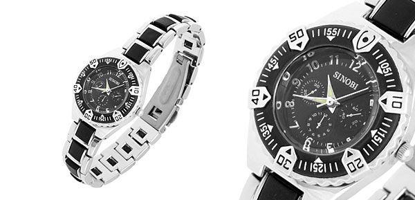 Black Round Night Vision Hands Quartz Lady Steel Watch
