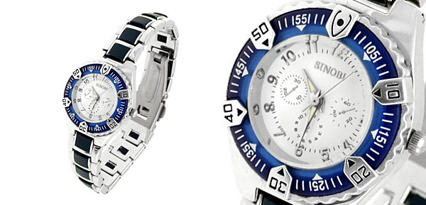 Round Night Vision Hands Steel Quartz Lady Watch Blue