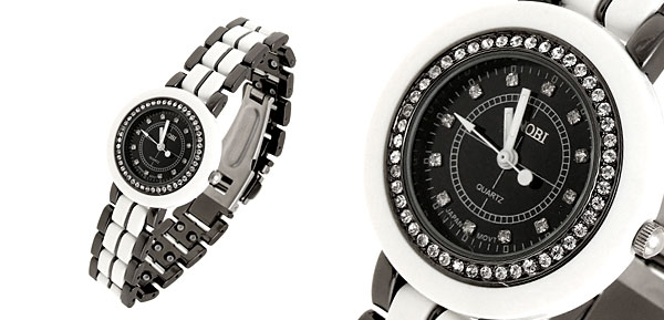 Black Dial Rhinestone Round Watchcase 3 Hands Steel Quartz Lady Watch
