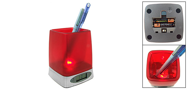 Red Hourly Chime Digital Alarm Clock Desk Pen Holder with Night Light